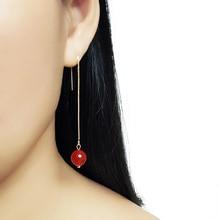 SHELA 10mm big Red Stone Polygon Bead Geometric Long Fashion Earrings for Women Drop Pendientes