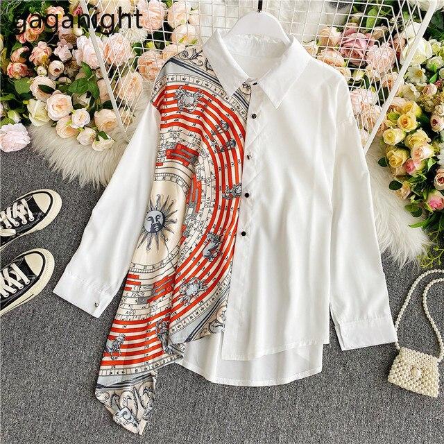 Gaganight Fashion Women Blouse Long Sleeve Irregular Elegant Office Lady Shirt Chic Casual Loose Blusas Spring Autumn New Shirts 1