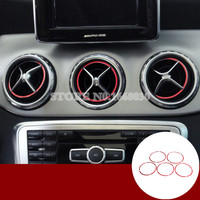 Red Inner Center Console Air Vent Outlet Cover Ring 5pcs For For Benz CLA C117 X117 W117 2013 2018|Interior Mouldings| |  -