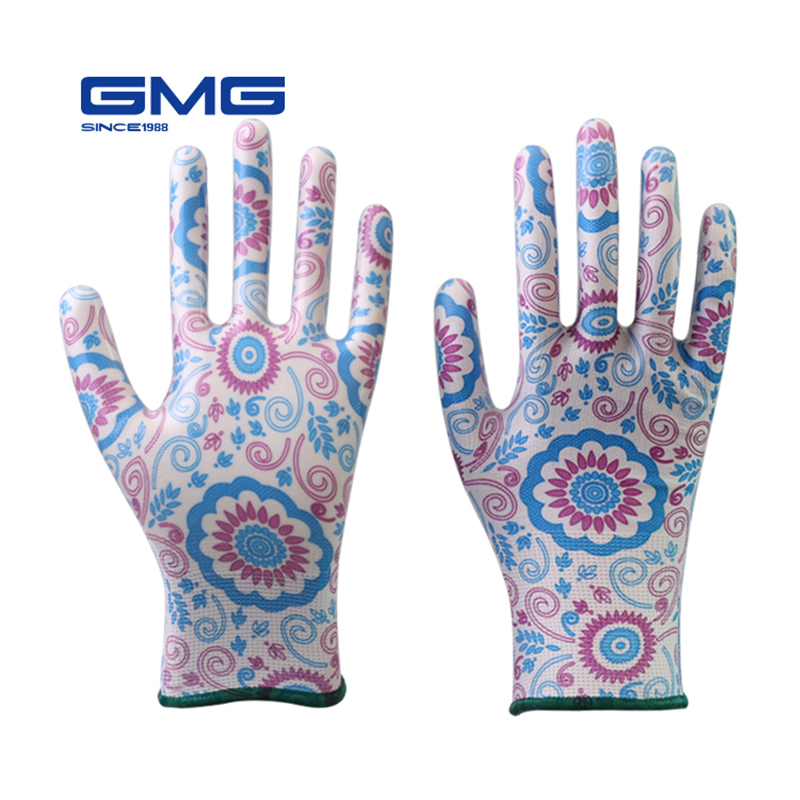 Working Gloves Women GMG Printed Polyester Shell Nitrile Coating Work Safety Gloves Women's Garden Gloves