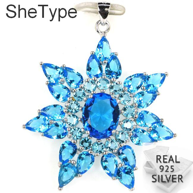 45x38mm Big Star Shape 5.7g Created Paris Blue Topaz Green Emerald Party Real 925 Solid Sterling Silver Pendant