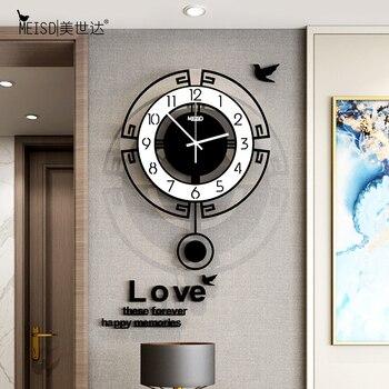 HOT SALE Swing Acrylic Quartz Silent Wall Clock Stickers Modern Design Pendulum Watch Clocks Living Room Decoration
