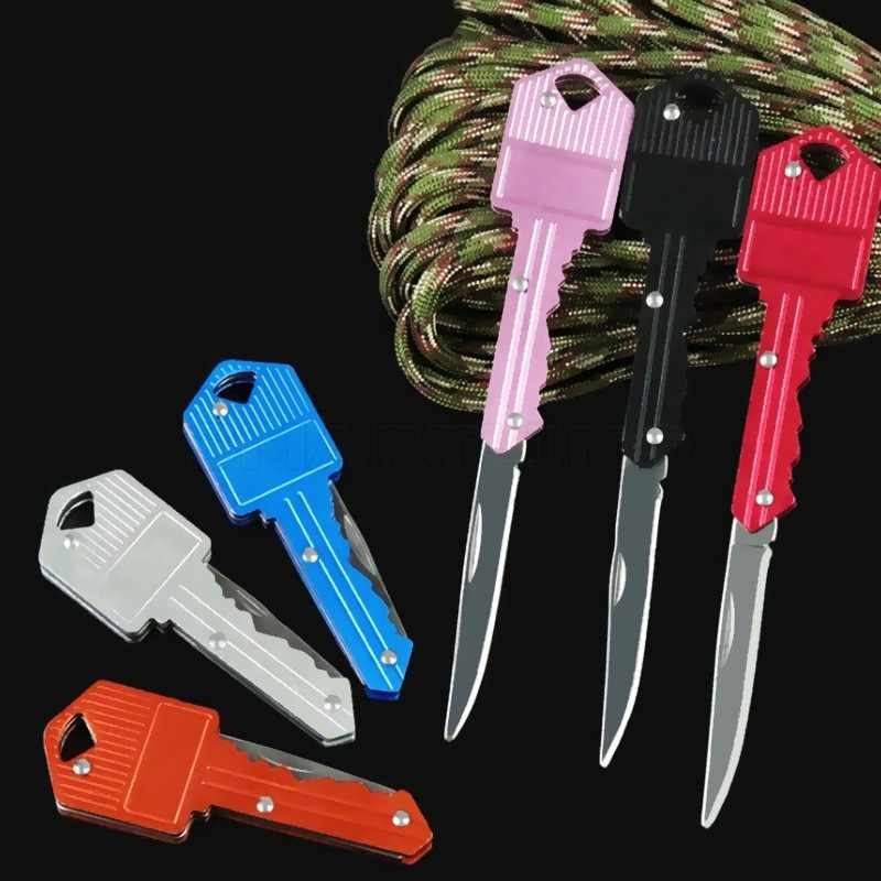 Selbstverteidigung Mini Schlüssel Messer Brief Camp Outdoor Schlüsselanhänger Tasche Paket Überleben Multi Tool Klinge Box kit