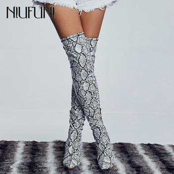 NIUFUNI Ladies Thigh High Boots Snakeskin Pointed Toe Over the Knee Boots Women High Heels Riding Boots Fashion Woman Shoes moraima snc spring autumn fashion women riding boots over the knee flat with fringe strap buckle decoration round toe long boots