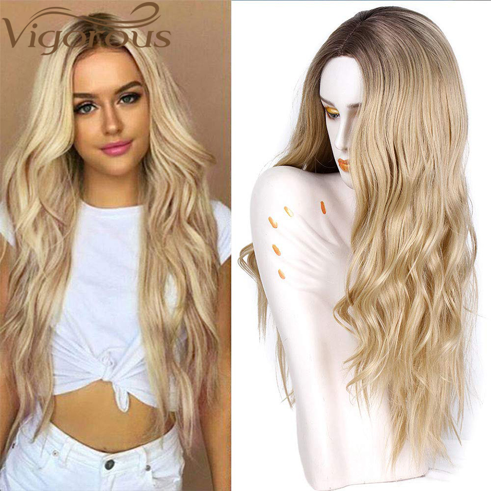 Vigorous Ombre Light Brown Blonde Synthetic Wig Wavy Middle Part Heat Resistant Fiber For Black Women Cosplay Long Wig