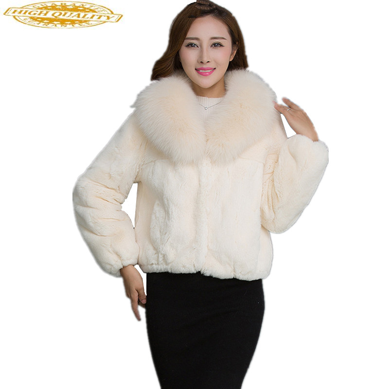 2020 Full Pelt Real Rex Rabbit Fur Coat Natural Fur Coats With Genuine Fox Fur Collar Winter Jackets For Women WYQ832