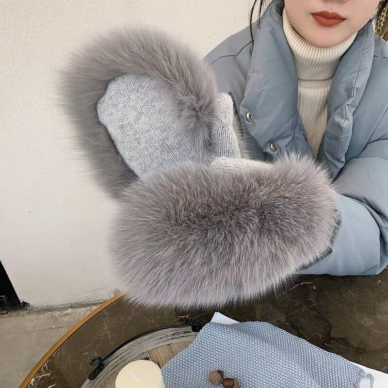 2019 New Women Winter Luxury Real Fox Fur Gloves Wool Kintting Mittens Girls Ski Gloves Warm Fur Mitts Russian Lady Wrist Glove