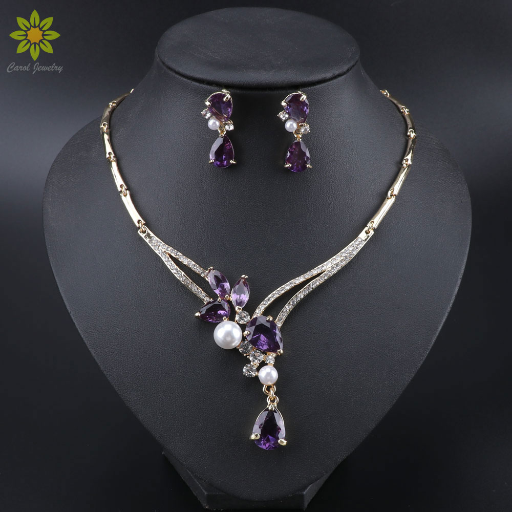 Luxury Dubai Jewelry Sets Purple Crystal Necklace Earrings Set for Women Bridal Jewelry set Accessories Gifts
