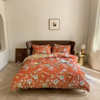 Egyptian Cotton Bedding Orange Floral