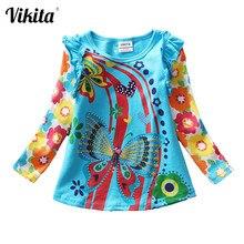 VIKITA t-shirt kızlar için uzun kollu Roupa Infantil prenses çocuk karikatür giyim çocuk çocuk t-shirt Tops ve Tees