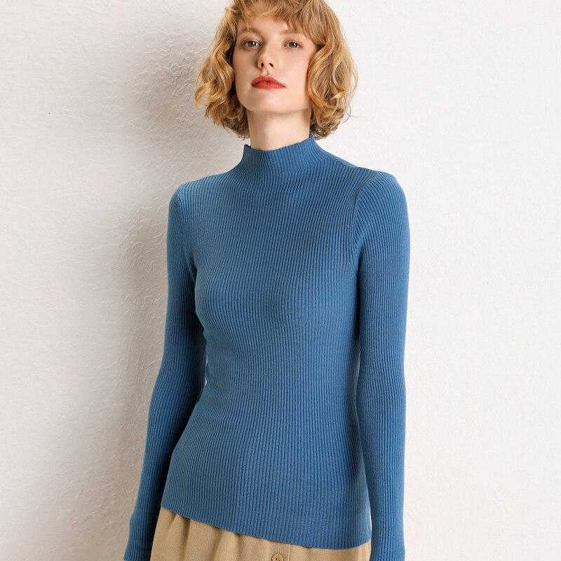 Women's Mid-high Collar Sweater New Thin Sweater Underwear Long Sleeve Shirt In Winter 2019