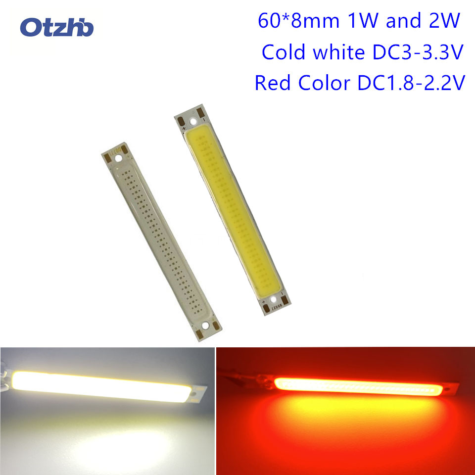 10pcs/lot 3W LEDstrip Light Red Cold White Color 300LM DC3V COB LED Lamp 60mm Bar Lights Strip DIY Lighting Bulb60mm