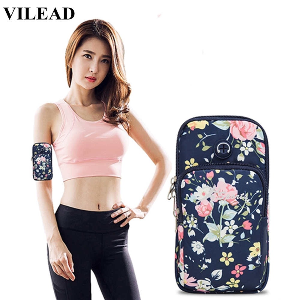 Vilead Polyester Women Sports Breathable Running Bag Floral Waterproof Outdoor Fitness Arm Bag Cellphone Holder Bag For Cycling