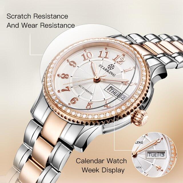 STARKING Women Mechanical Watch Miyota Movt Stainless Steel Wristwatch Sapphire Automatic Self-wind Bracelet Relogios Femininos 2