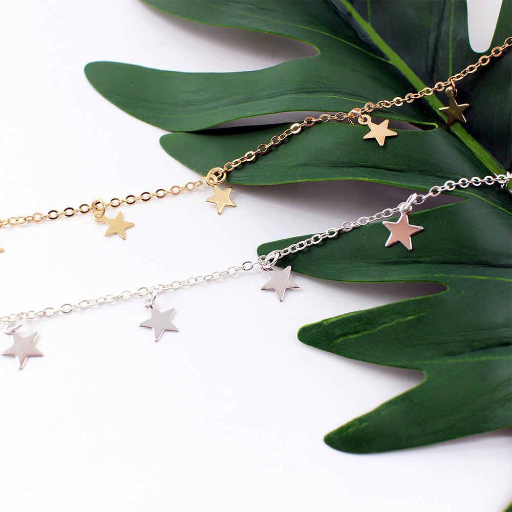 Cadena DE PLATA Gargantilla Estrella คอ Collana Kolye Bijoux Collares Mujer Gargantilha Collier Femme Boho Gargantilla Oro