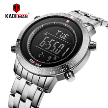 K849 KADEMAN Top Brand Luxury Fashion Mens Sports Watch LCD Digital Display Multifunction Alarm Backlight 3ATM Stainless Steel
