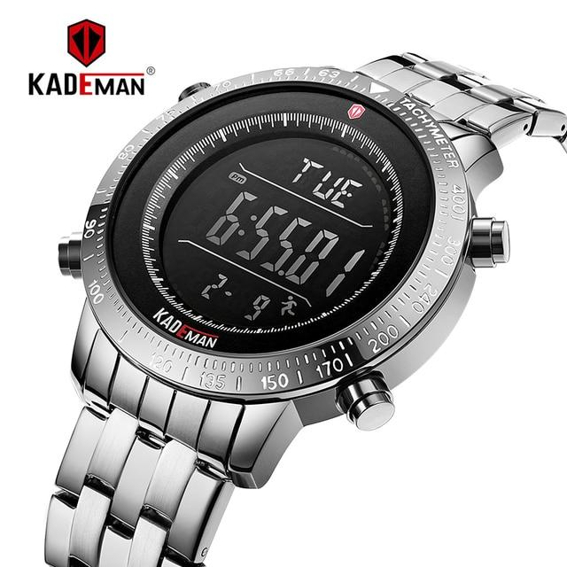 K849 kademan トップブランドの高級ファッションメンズスポーツ時計液晶デジタル表示の多機能アラー 3ATM ステンレス鋼
