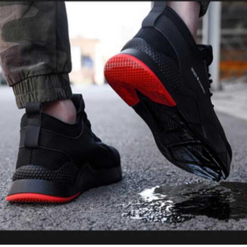 Erkek çelik ayak iş güvenliği ayakkabıları erkek botları nefes açık sneaker Anti-smashing Piercing çalışma güvenlik botu erkek