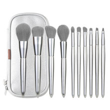 Makeup Brushes Set 10pcs Blending Eyeliner Eyelash Eyebrow Make up Brushes Tools Professional Silver Wooden Handle Brush