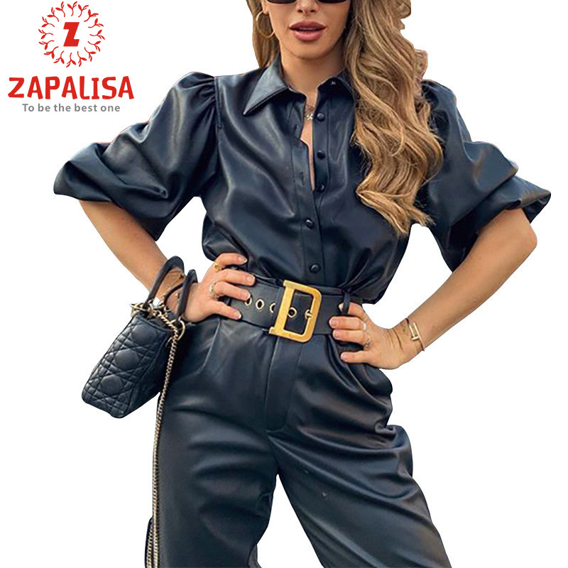 Zapalisa Hot Sale Women Tops Fashion Streetwear Leather Shirt Elegant Slim Solid Color Patchwork Long Sleeve Women Shirts