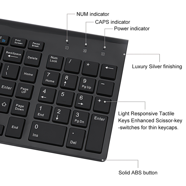 TRAVOR Wireless Mouse Keyboard Sets Portable 2.4G Wireless Mouse Full Size 102 keys Wireless Keyboard For Computer Laptop Tablet 3