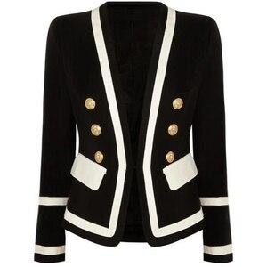 Image 3 - 高品質新ファッション 2020 デザイナーブレザージャケット女性クラシックブラックホワイト色ブロック金属ボタンブレザー