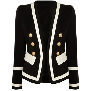 Image 3 - HIGH QUALITY New Fashion 2020 Designer Blazer Jacket Womens Classic Black White Color Block Metal Buttons Blazer