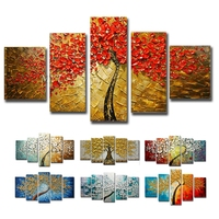 Hand painted oil painting abstract painting on canvas wall painting gold tree bar fresco painting decorative oil painting,