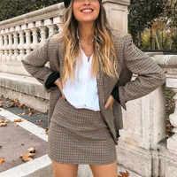 Women plaid Suit Casual Blazer High Waist Skirt Office Lady Notched Jacket Skirt Suits Europe Femme 2 pieces set