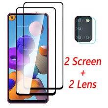 Para samsung a21s vidro 2 em 1 câmera de vidro protetor para samsung a21s a 21 s 21 s a21 s a217f sm-a217F/ds filme protetor de tela
