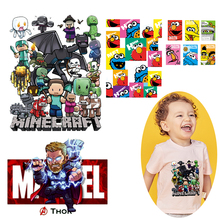 Pulaqi Sesame Street Heat Transfer Iron on Patches For Clothing Marvel Heat Transfer Vinyl For Clothes Cartoon Thermal Transfer цена и фото