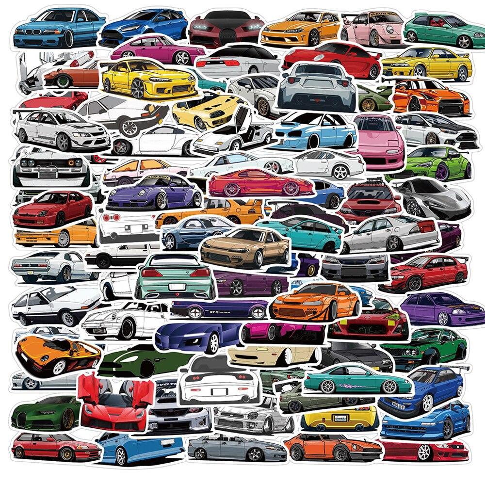 JDM-pegatinas de grafiti para coche de carreras para niños, 100 Uds., pegatinas de grafiti para portátil, guitarra, equipaje, bicicleta, monopatín, pegatina impermeable, juguetes clásicos