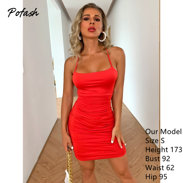 Pofash Red Spaghetti Strap Mini Dress Women Sexy Lace Up Backless Club Party Dresses Ruched Bodycon Summer Dresses 2020 Vestidos 6