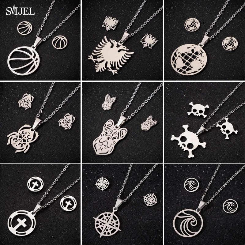 SMJEL naszyjniki ze stali nierdzewnej dla mężczyzn Rock Skull Baksetball mapa świata geometryczne oświadczenie biżuteria naszyjnik dziewczyny prezenty
