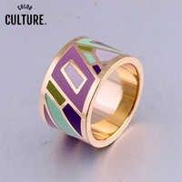 Joyería clásica al por mayor al por menor anillos grandes de acero inoxidable para mujeres anillo esmaltado diseñadores geométrico regalo de aniversario