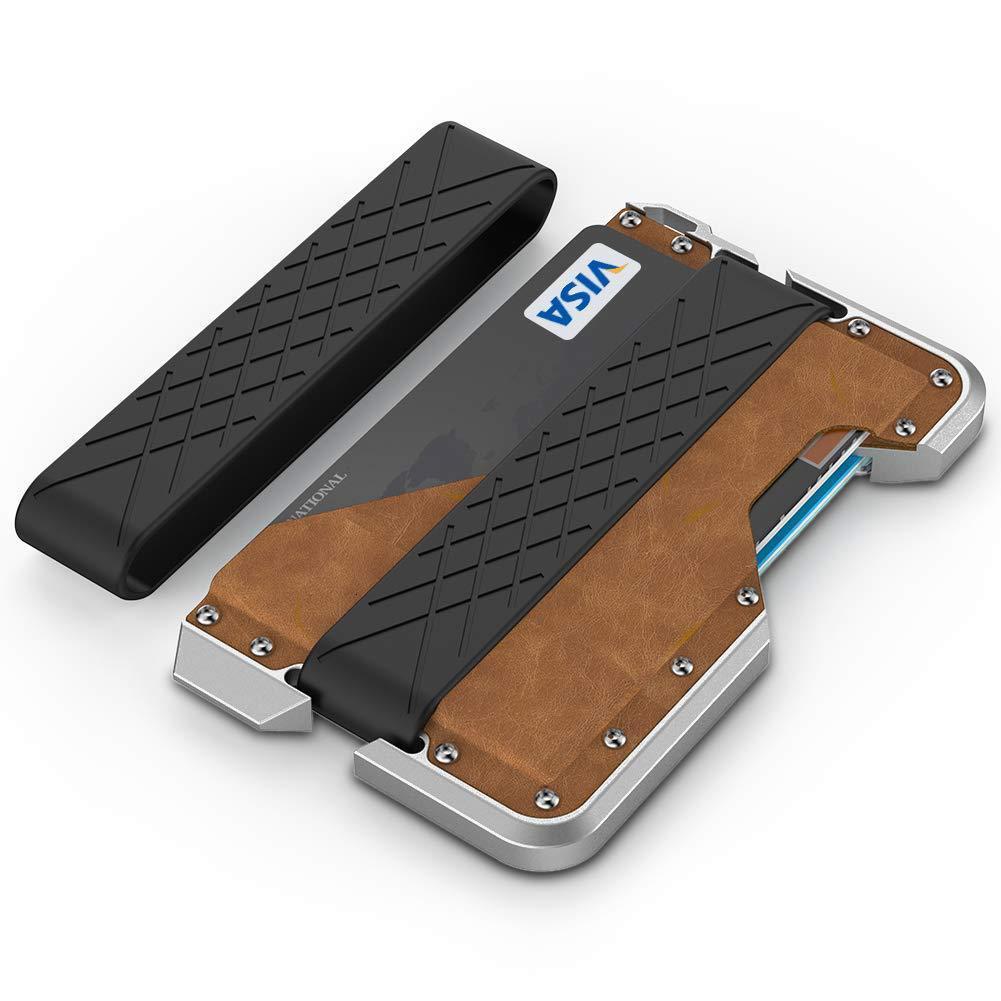 RFID Genuine Real Leather Aluminium Alloy Plastic Credit Bank Card Case Holder Metal Bottle Opener Wallet Money Clip Men Male