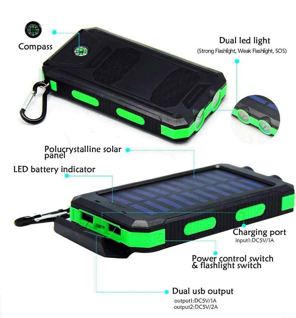 Solar Power Bank 30000 MAh untuk Xiaomi Charger Baterai Eksternal Ponsel Pengisian Senter Tahan Air Portable Powerbank