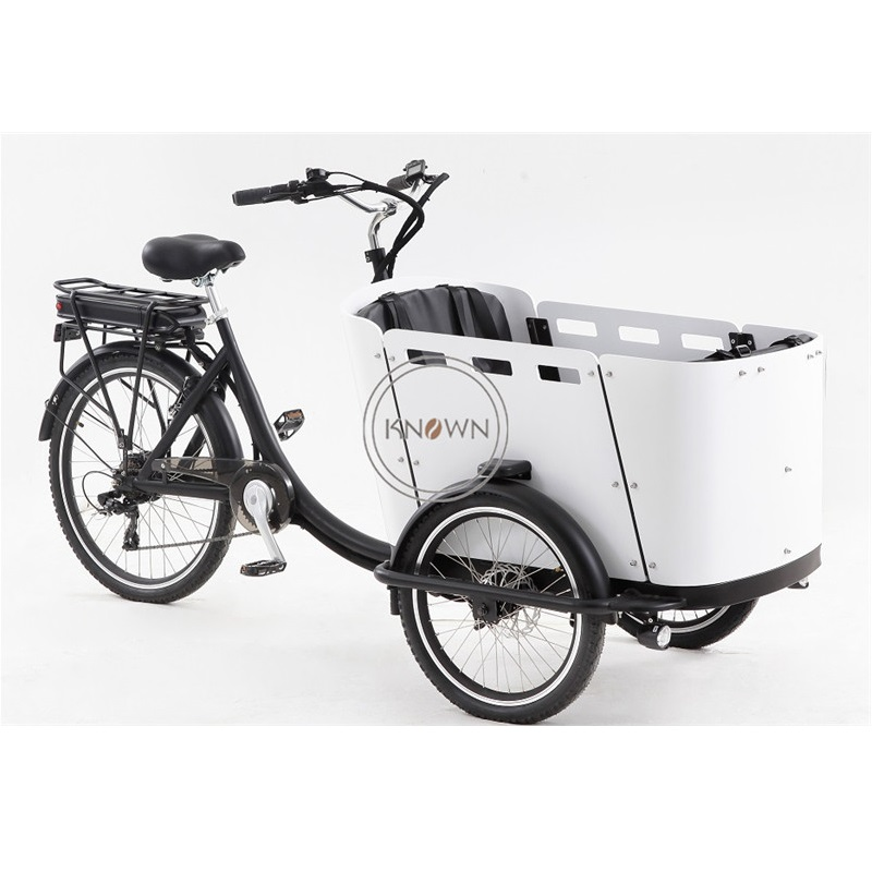 High Quality Electric Retro Classical 3 Wheel Pedal Adult Cargo Bike Stuff Carry Tricycle Goods Express