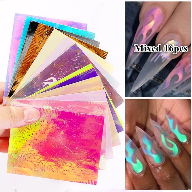 16 Tờ/Bộ Aurora Ngọn Lửa Miếng Dán Móng Tay Toàn Phương Nhiều Màu Sắc Lửa Phản Xạ Tự Dán Các Lá Tự Làm Móng Tay Nghệ Thuật Trang Trí miếng Dán Kính Cường Lực