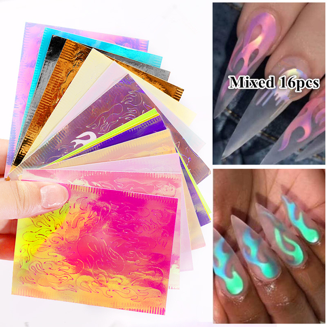 16Sheets/Set Aurora Flame Nail Sticker Holographic Colorful Fire Reflections Self Adhesive Foils DIY Nail Art Decoration Sticker