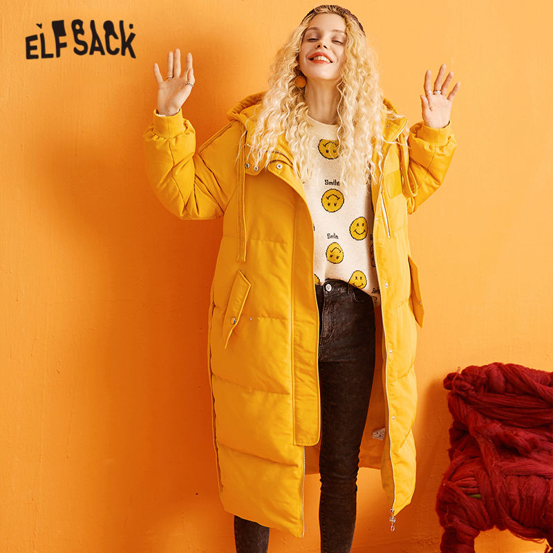 ELFSACK Pink Solid Leather Patchwork Hooded   Down     Coat   Women 2020 Winter Warm Korean Style Office Ladies Daily Outwear Clothing