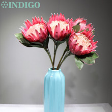 INDIGO -Pink Protea cynaroides Large Size Real Touch Artificial Flower Wedding Party Event Free Shipping