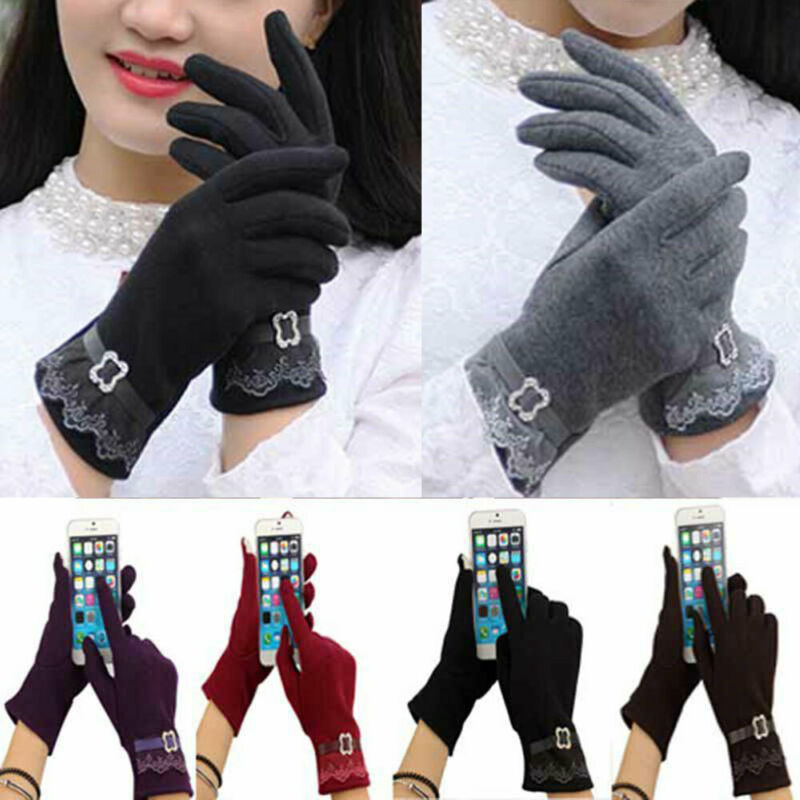 Women's Lace Touch Screen Gloves For Smartphone Winter Warm Gloves
