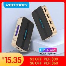 Tions HDMI Splitter 1 In 4 Out HD 4K/30Hz HDMI Schalter HDMI 1,4 1x2 1x4 Adapter Mit Netzteil für Xbox PS4 TV HDMI Switcher