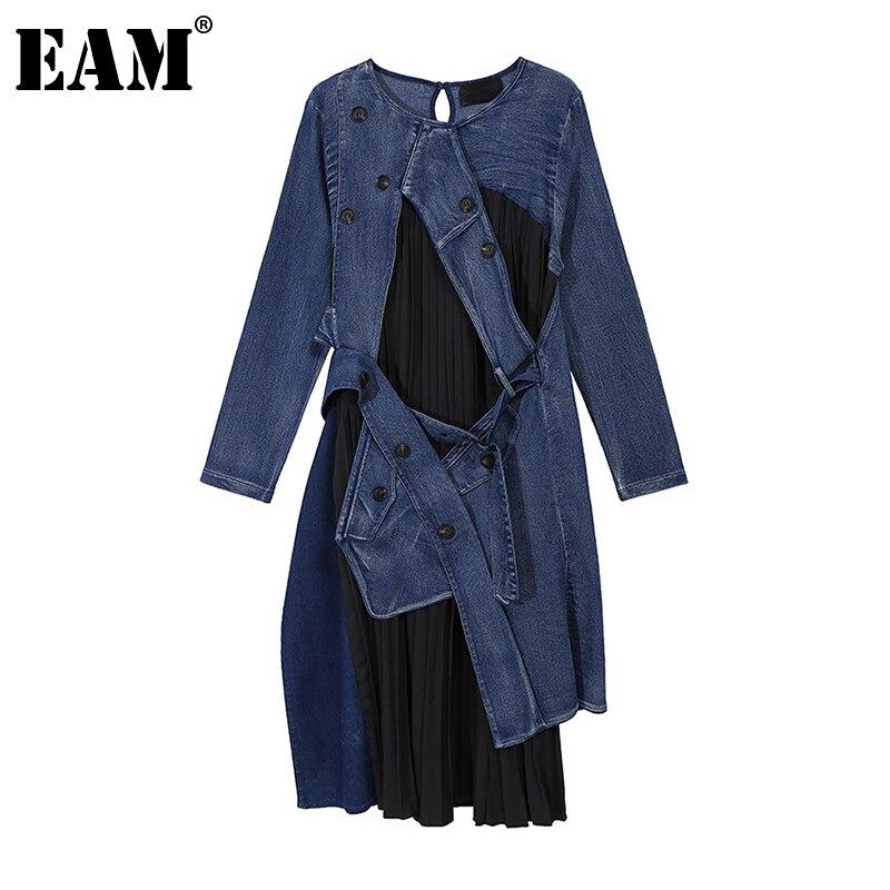 [Eem] kadınlar mavi Denim pilili düzensiz uzun elbise yeni yuvarlak boyun uzun kollu gevşek Fit moda gelgit bahar sonbahar 2020 1Z642