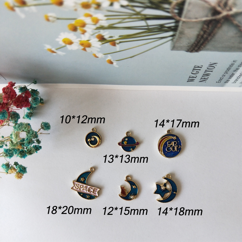 10pcs Starry Series Enamel Charms Alloy Pendant Rhinestone Star Moon Space Dangle Charm Fit DIY Bracelet Jewelry Accessory FX162 in Charms from Jewelry Accessories