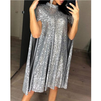 Sexy Party Sequin Dress Women Glitter Mock Neck Cape Design Sequins Dress