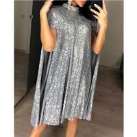Sexy Party Sequin Dress Women Glitter Mock Neck Cape Design Sequins Dress