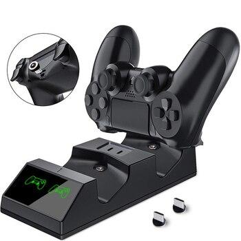 Зарядное устройство для контроллера PS4 с USB-зарядкой и светодиодсветильник кой, подходит для беспроводного контроллера Sony Playstation 4 / PS4 / Pro / Slim