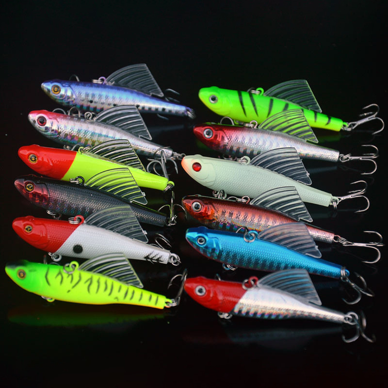 12 Colors Metal VIB Fishing Lures 6.5cm/14g Bionic Laser Hard Bait Vibration Lure Crankbait Fish Bass Wobbler Bait Treble Hooks